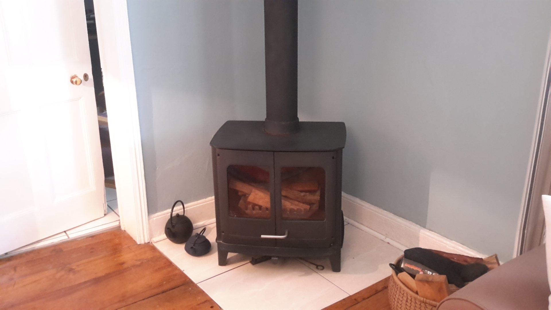 Morso wood burning fireplace in living room