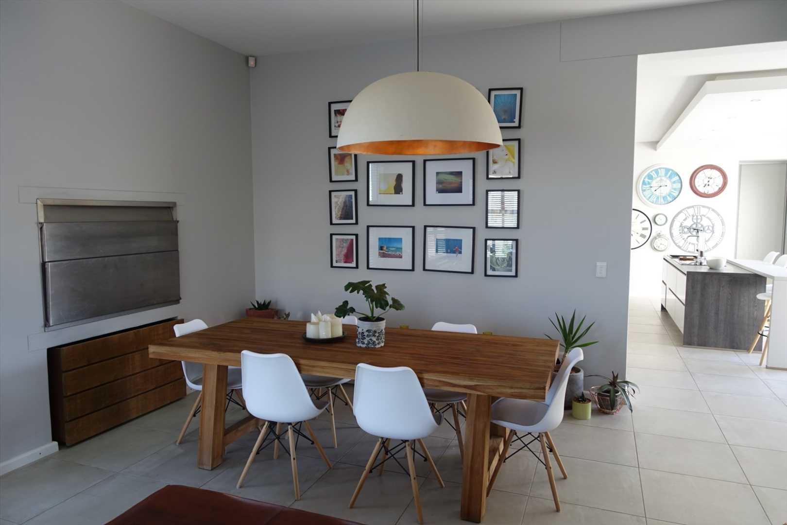 Dining room with indoor BBQ