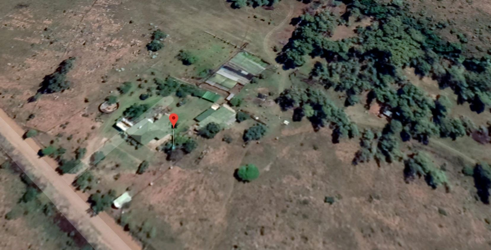 Aerial view of the farmhouse and immediate surroundings