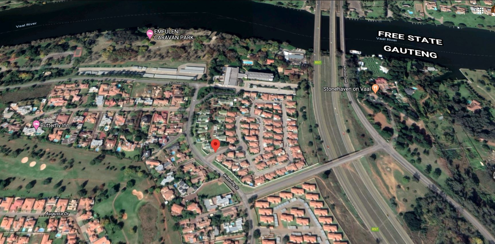 Location of Estate from Vaal River