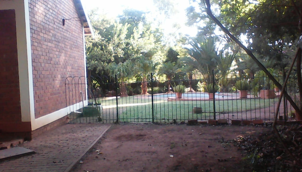 Side view of back garden
