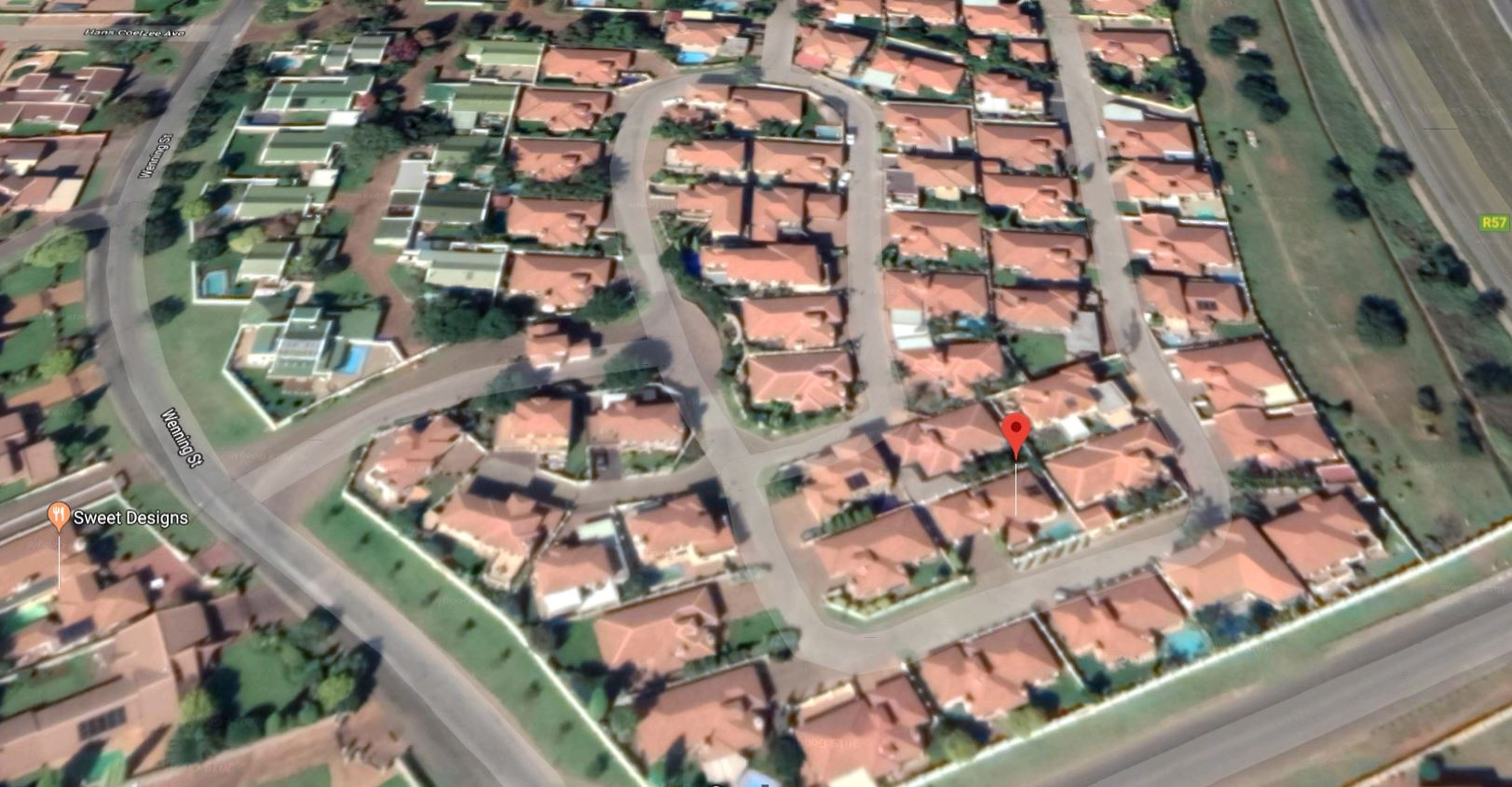 Aerial view of location of house in the Estate