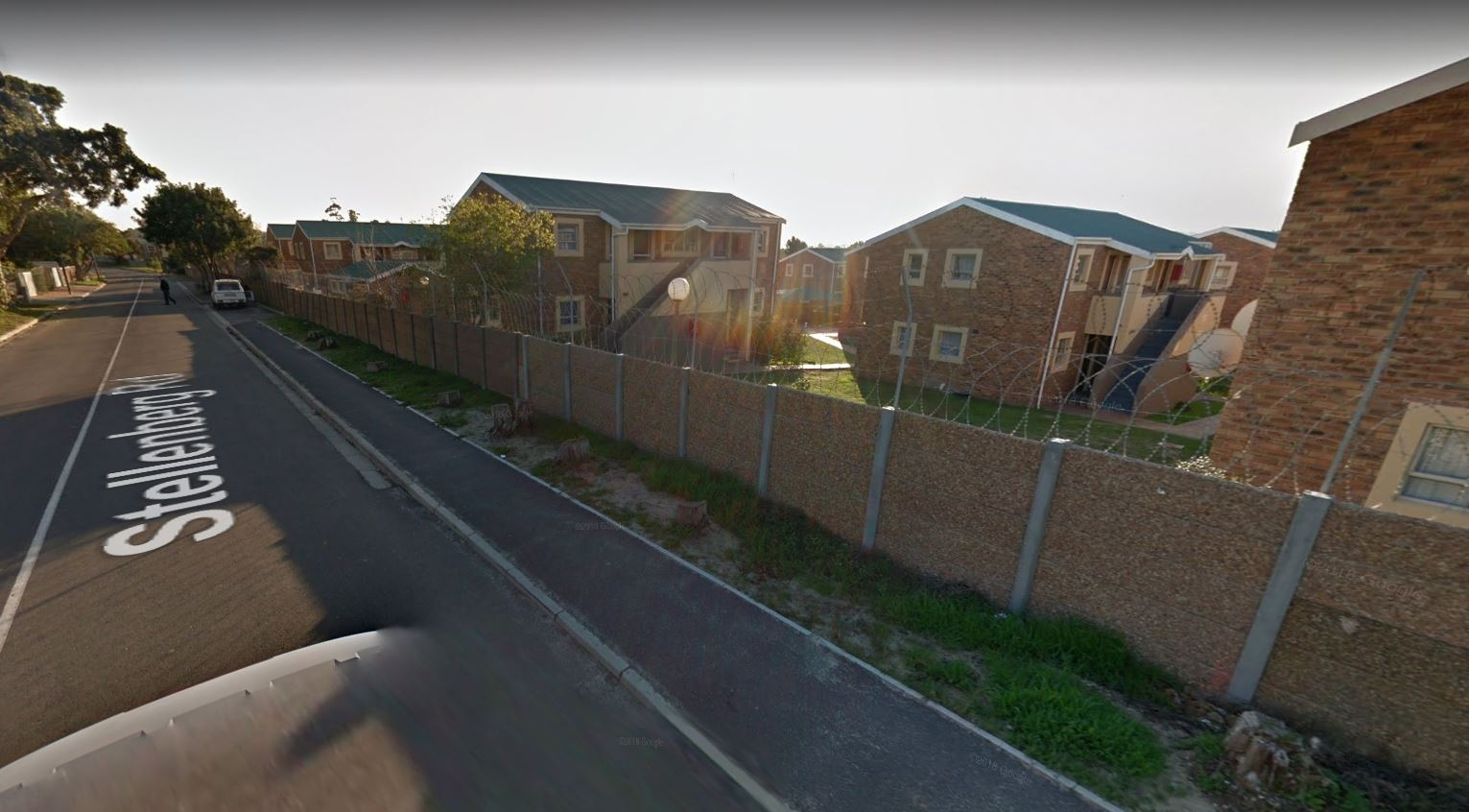Street view of apartments