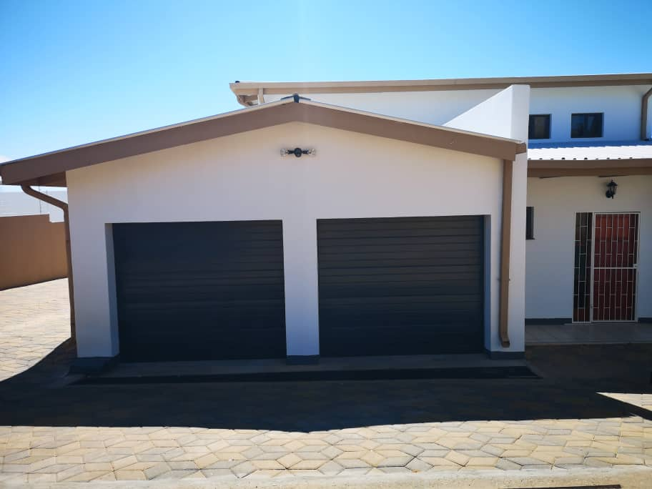 Front with a double garage