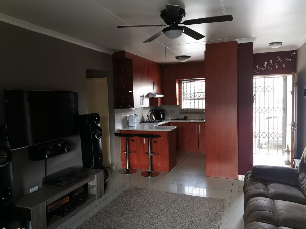 View from living area towards kitchen