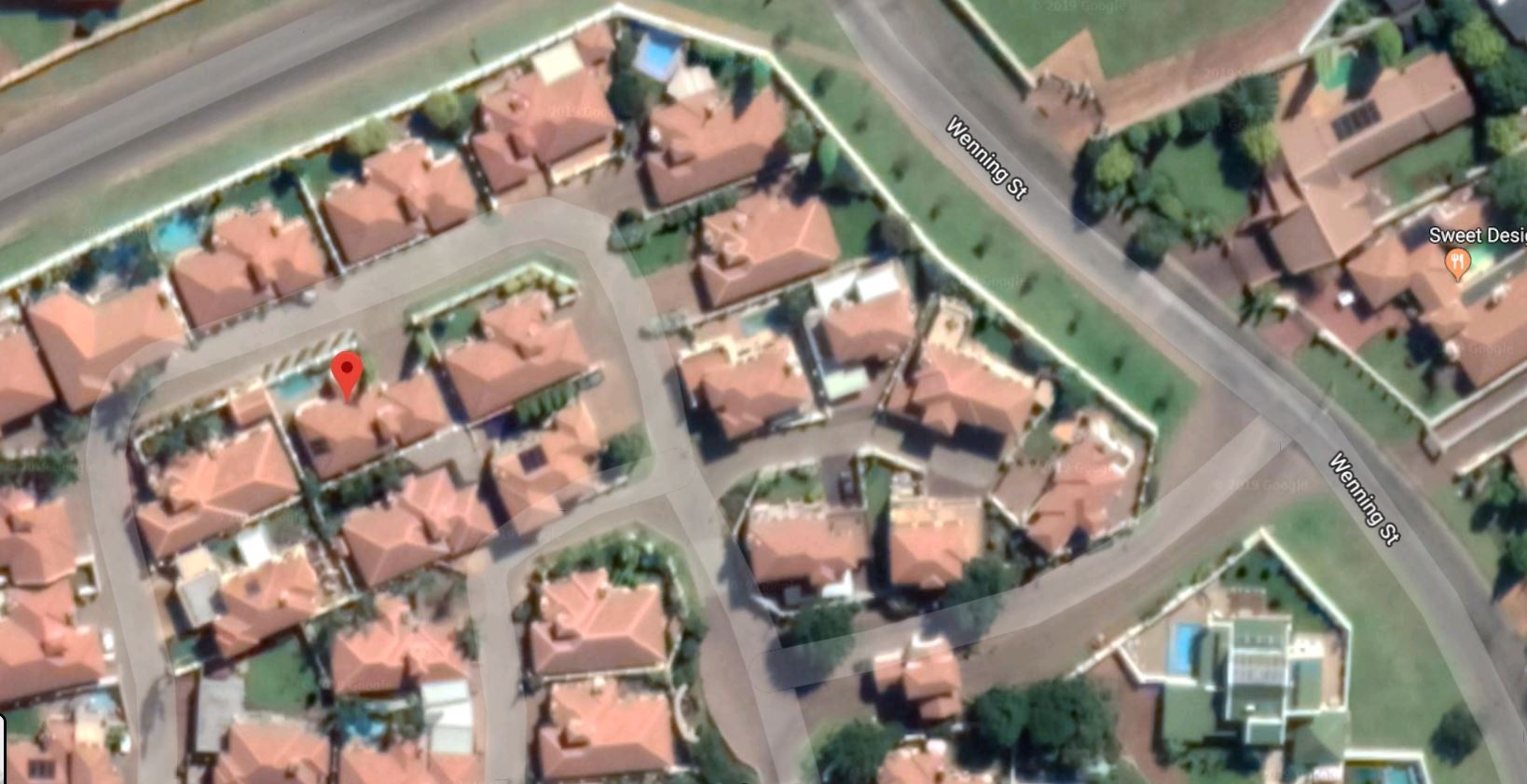 Aerial view of location of house in Estate