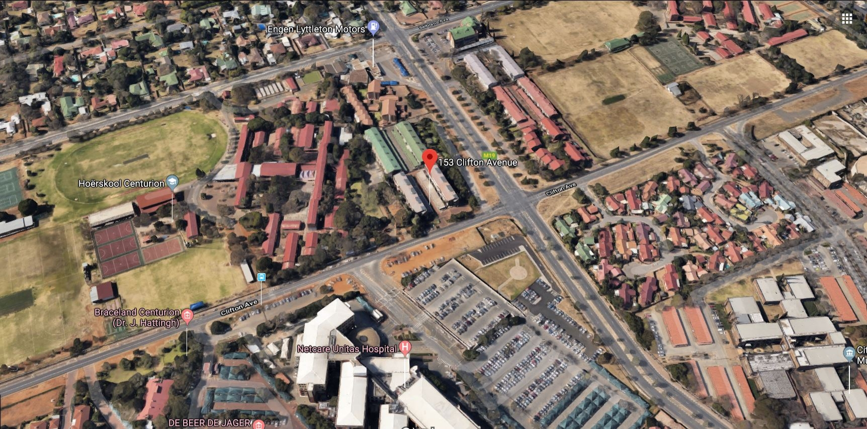 Aerial view showing location of complex