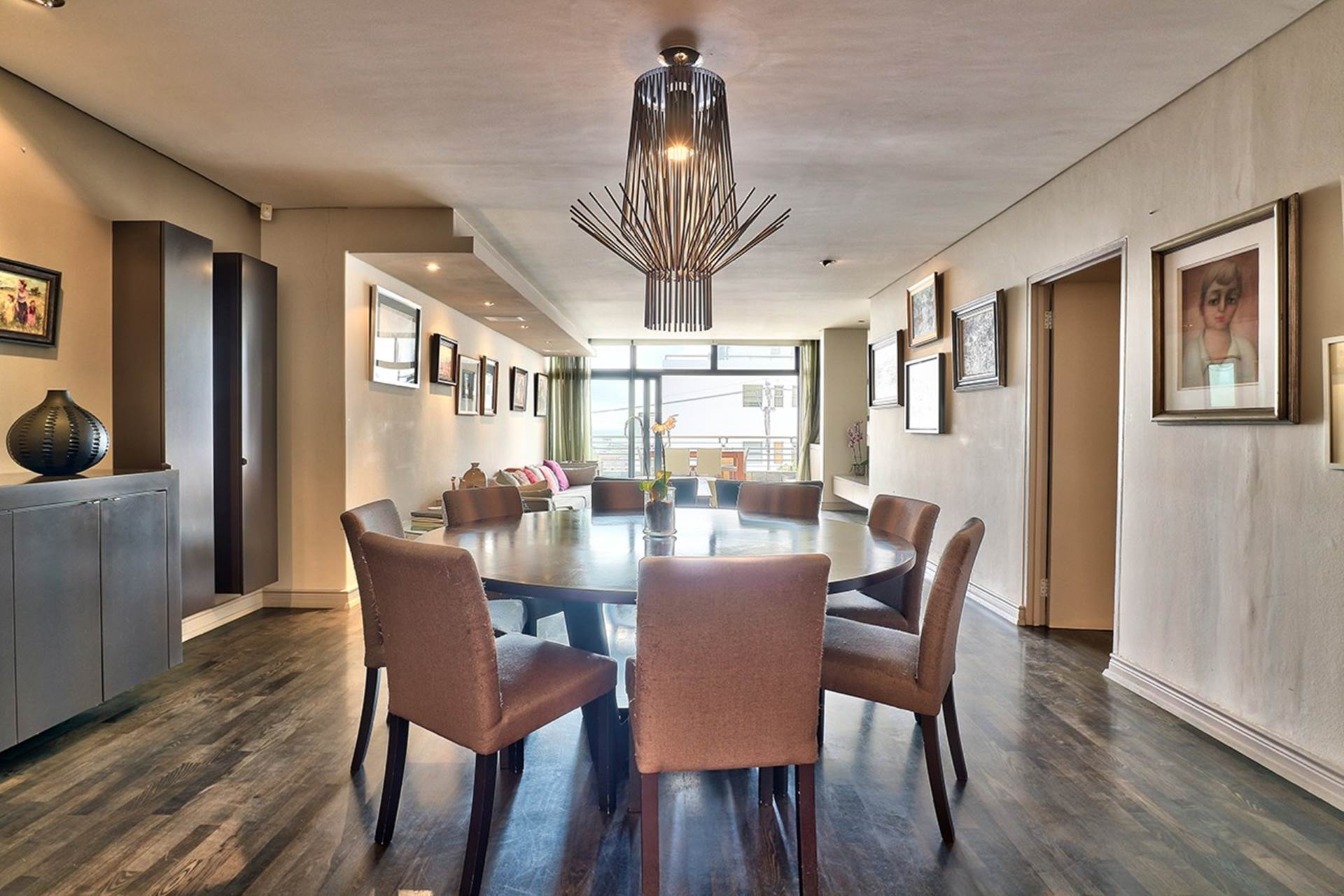 Dining Area With Solid Wood Floors