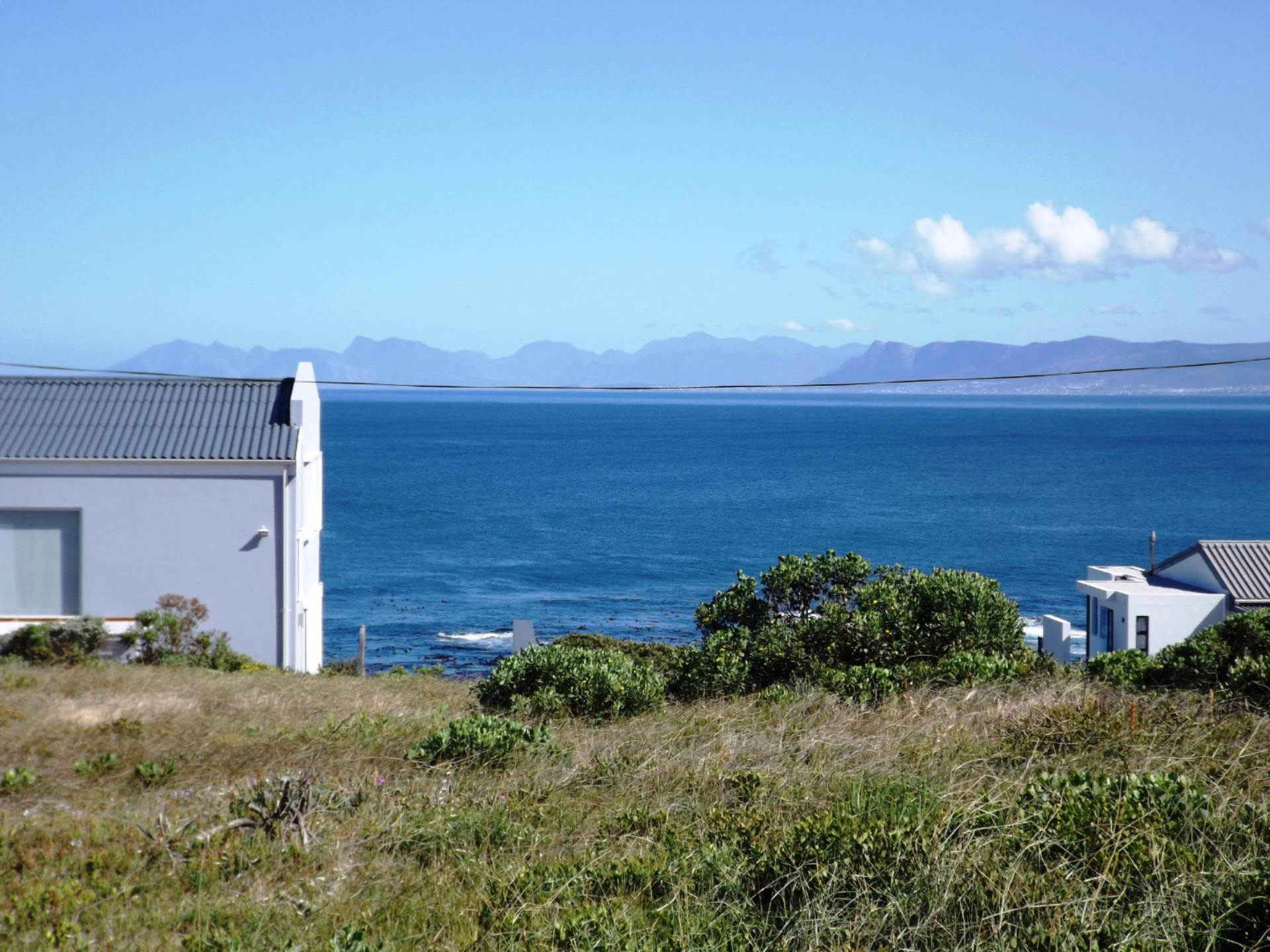 View from the ocean side of our Plot.  1190m².  Hermanus at back.