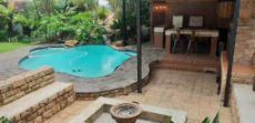 Pool, bar and fire pit