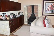Fireplace next to lounge