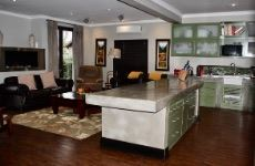Kitchen and family room with gas fireplace